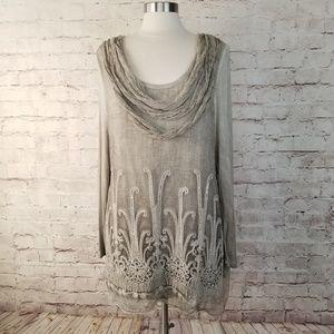 Soft Surroundings Crinkle Silk Embellished Tunic